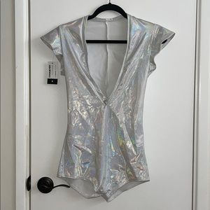 Holographic Festival One Piece Romper